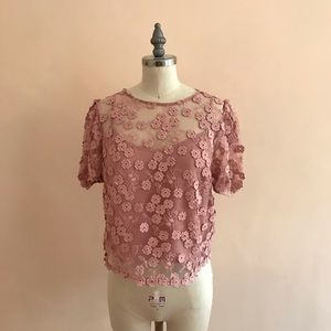 French Connection Embellished Organza Blouse